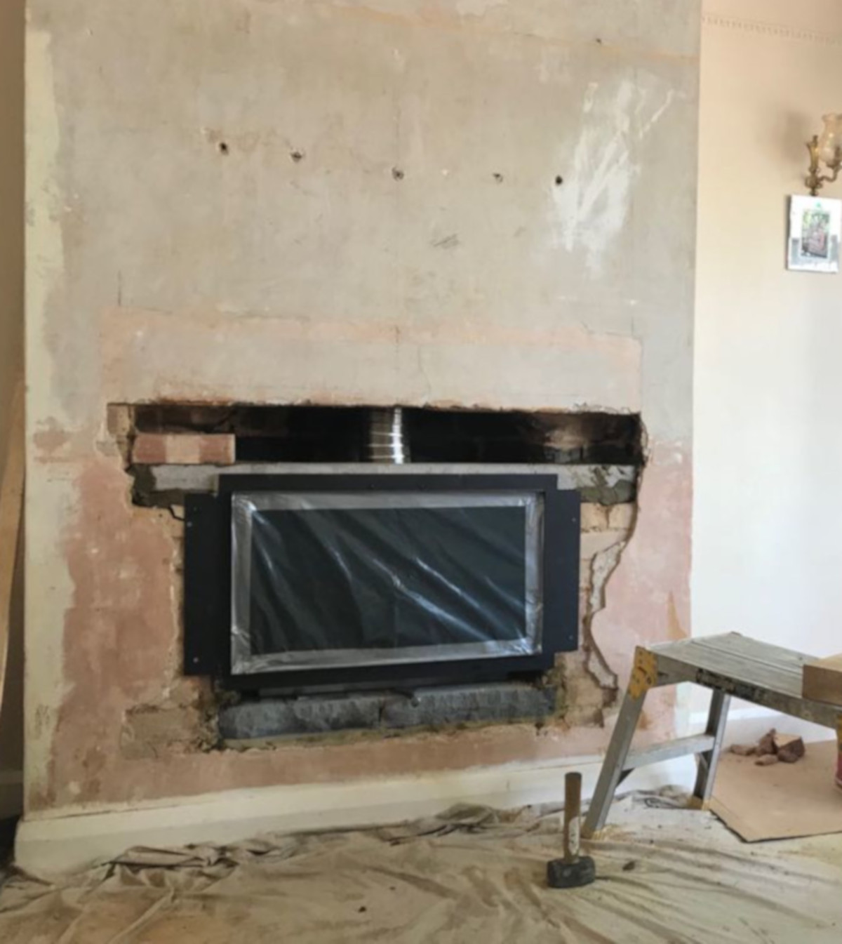 Mid-installation of Studio 1 gas fire