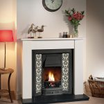 Burcott mantel with Appledore combination gas fire