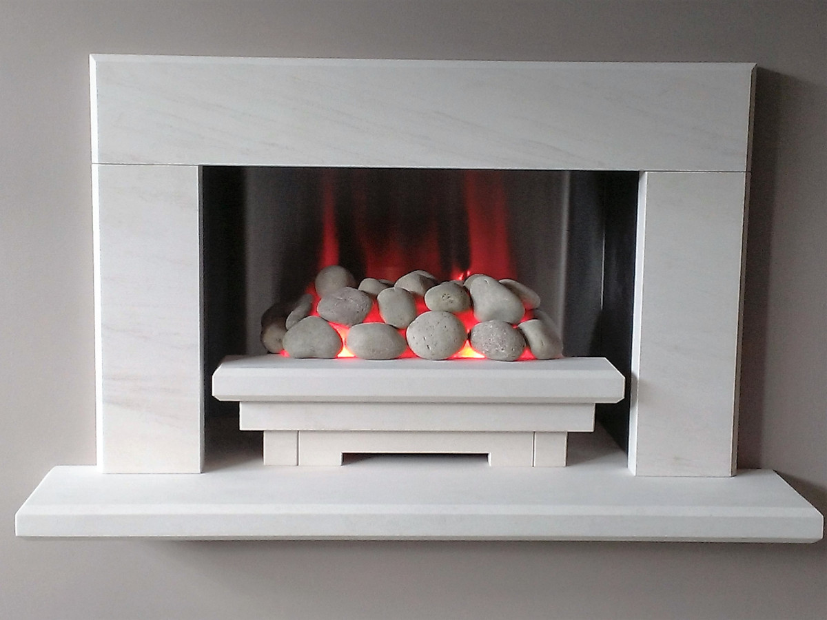 Limestone Baia with Electric Fire