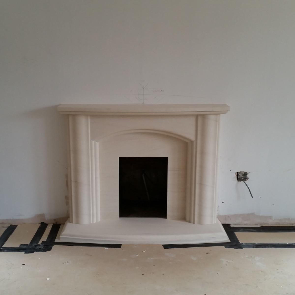 Lisboa limestone fireplace