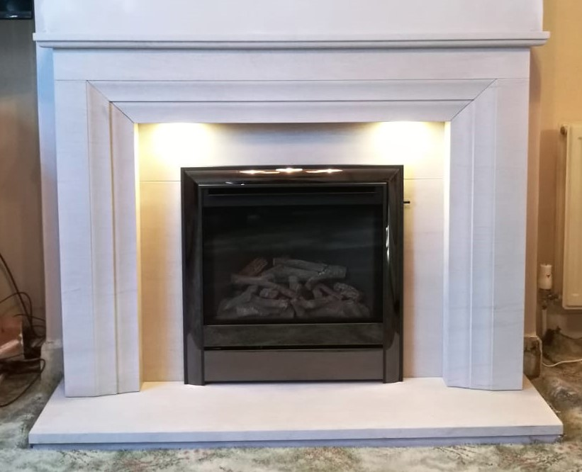 Limestone Vitoria fireplace with Chollerton High Efficiency gas fire